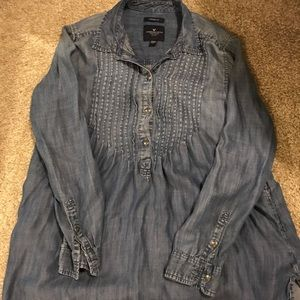 American eagle denim babydoll blouse